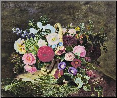 A Basket of Roses, Dahlias abd Morning Glory with