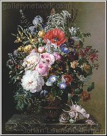 A Poppy, Peonies, Roses and Nasturtiums in a Greek
