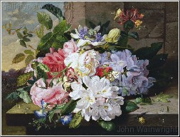 A Pretty Still Life of Roses, Rhododendron and Pas