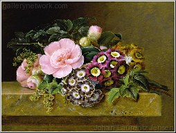 A Bouquet of Pink Camellias and Primula on Marble