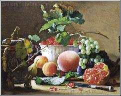 A Still Life of Figs, Peaches, Pomegranates and Ra