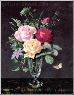 A Still Life Of Roses And Clematis