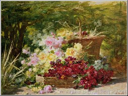 Flowers In a basket In a  Wooded Glade