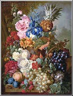 Rich Still Life With Iris, Hollyhock and Pineapple