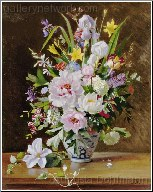 A Still Life With Clematis, Honkeysuckle And Peoni