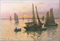 Breton Fishing Boats At Sunset