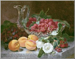 A Still Life of Raspberries in a Glass Bowl