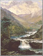 A Romatic Landscape With Waterfall