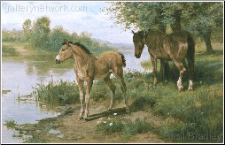 A Mare and Her Foal