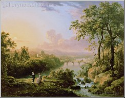 A River Landscape With Children Fishing