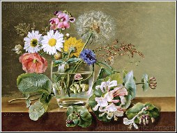 A Still Life of Flowers in a Glass